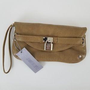 Jennifer Lopez Juanita Wristlet Handbag Gold Faux